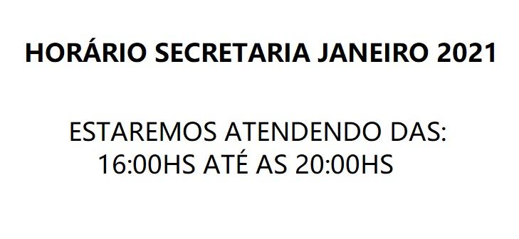 HORÁRIO SECRETARIA JANEIRO 2021