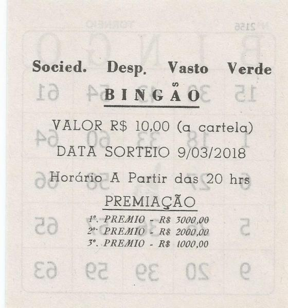 BINGÃO 09/03/2018