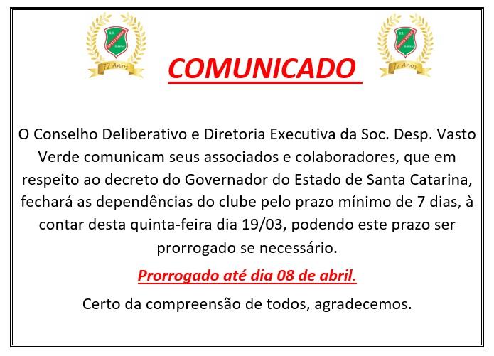 COMUNICADO 19/03/2020