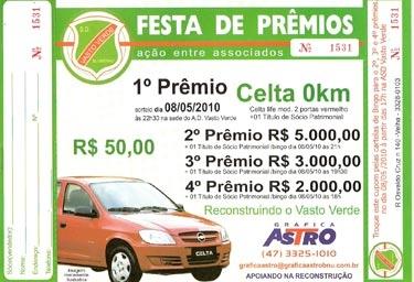 RESULTADO DA RIFA  FESTA DE PRÊMIOS